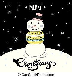 かわいい, メリークリスマス, 冬, カード, ∥で∥, いたずら書き, 雪だるま