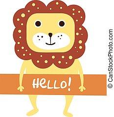 かわいい, ライオン, 印, テキスト