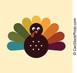 かわいい, レトロ, 感謝祭トルコ, 隔離された, 上に, ベージュ