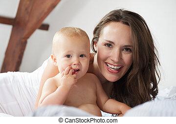 かわいい, 一緒に, 母, 赤ん坊, 肖像画, 幸せ