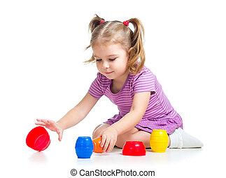 かわいい, 上に, 子供, 隔離された, 遊び, おもちゃ, 白, 女の子