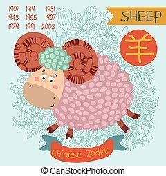 かわいい, 中国語, 黄道帯, 印, -, sheep., ベクトル, illustrationyearschinese, character., いたずら書き, hand-drawn, スタイル