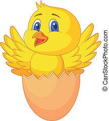 かわいい, 中, 卵, 割れた, 鳥