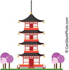 かわいい, 仏教, イラスト, 塔, ベクトル, 漫画