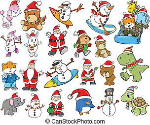かわいい, 休日, クリスマス, 冬, セット