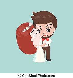かわいい, 使用, 花婿, 特徴, 抱き合う, カード, 花嫁, 招待, 結婚式, ∥あるいは∥, 背景