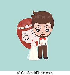かわいい, 使用, 花婿, 特徴, 花嫁, カード, 招待, 結婚式, ∥あるいは∥, 背景, 抱き合う
