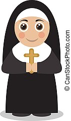 かわいい, 修道女, ローブ, 黒