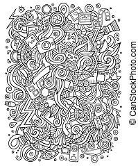 かわいい, 写真, イラスト, 手, doodles, 引かれる, 漫画