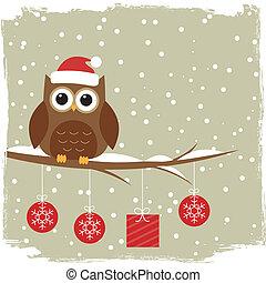 かわいい, 冬, カード, フクロウ
