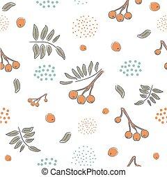 かわいい, 冬, パターン, seamless, イラスト, 手, バックグラウンド。, ベクトル, ナナカマド, 引かれる, 白, ベリー
