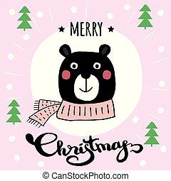 かわいい, 冬, 漫画, bear., メリークリスマス, カード