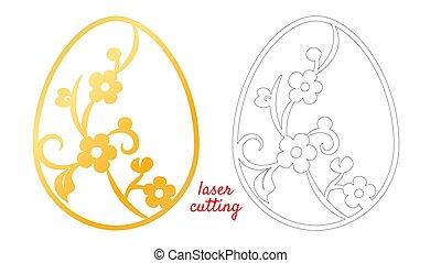 かわいい, 切口, 休日, egg., 幸せ, design., テンプレート, 自然, イースター, シンボル。, illustration., 印刷, レーザー, 季節的, バックグラウンド。, 装飾, decoration., ベクトル