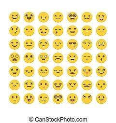 かわいい, 別, セット, emoticons., 平ら, 大きい, avatars, icons., expressions., コレクション, emoji, design.