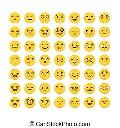 かわいい, 別, セット, emoticons., 平ら, 大きい, icons., コレクション, 表現, emoji, design.