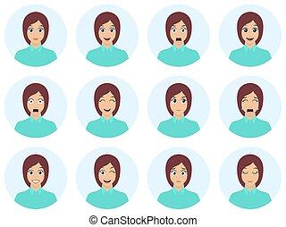 かわいい, 別, ブルネット, セット, expression., 女性, イラスト, avatar., expressions., ベクトル, 平ら, emotions., 美顔術, デザイン, 女の子