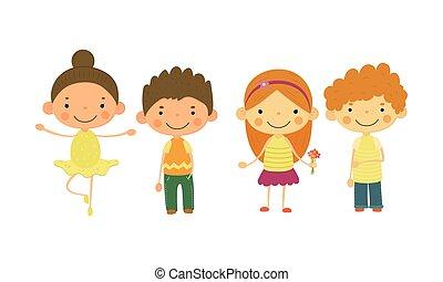 かわいい, 別, 子供, わずかしか, イラスト, ベクトル, 国籍, 子供