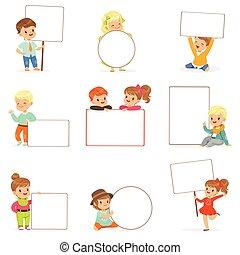 かわいい, 別, 子供, 板, set., 白, 女の子, わずかしか, 男の子, ベクトル, 保有物, ブランク, イラスト, ポスター, 微笑, ポーズを取る, 偶然, 空, 衣服