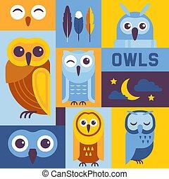 かわいい, 別, 賢い, illustration., パーティー。, moon., 空, 挨拶, 翼, フクロウ, 色, ベクトル, 閉じられた, 夜, カード, eyes., 漫画, 旗, 鳥, 祝福