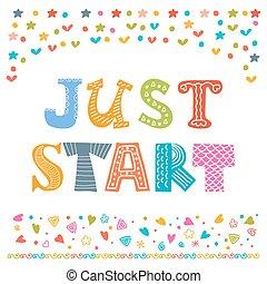 かわいい, 動機づけ, ただ, ポスター, 挨拶, invitation., デザイン, start., ∥あるいは∥, カード