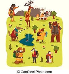 かわいい, 動物, キャンプ, ハイキング, セット, 旅行, 持つこと, イラスト, ∥あるいは∥, ベクトル, 冒険, 特徴, 野生, 旅行する, 旅行