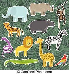 かわいい, 動物, トロピカル, ジャングル, ステッカー, 漫画