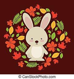 かわいい, 動物, 秋, デザイン