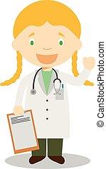 かわいい, 医者, イラスト, ベクトル, 女性, 漫画