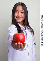 かわいい, 医者, 若い, アジア人, 肖像画, 女の子