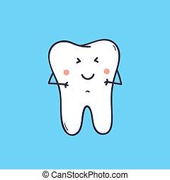 かわいい, 医院, tooth., style., 青, 面白い, 特徴, 隔離された, バックグラウンド。, 愛らしい, うれしい, center., 平ら, カラフルである, シンボル, イラスト, orthodontic, 漫画, マスコット, モル, 歯医者の, ベクトル, 笑い, ∥あるいは∥