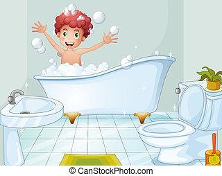 かわいい, 取得, 男の子, 浴室