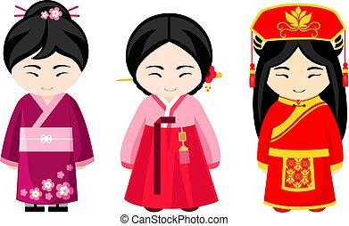 かわいい, 国民, dress., 女の子, アジア人
