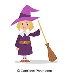 かわいい, 地位, 女の子, ハロウィーンの衣装, 魔女