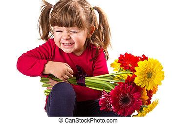 かわいい, 女の子, ∥で∥, gerbera, 花, 花束