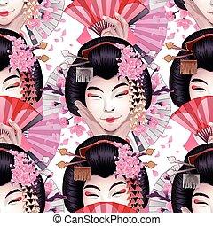 かわいい, 女の子, アジア人