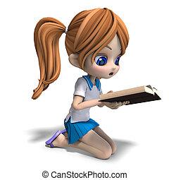 かわいい, 女の子, 上に, 学校, book., 漫画, レンダリング, 読む, クリッピング道, 影, 白, ...