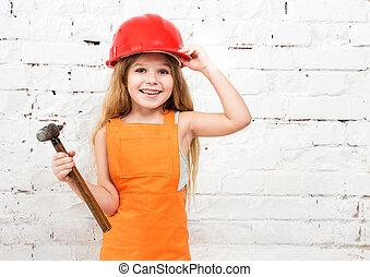かわいい, 女の子, 中に, 修理人, ユニフォーム, そして, ハンマーで打ち込みなさい, 手