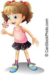 かわいい, 女の子, 保有物, lollipop