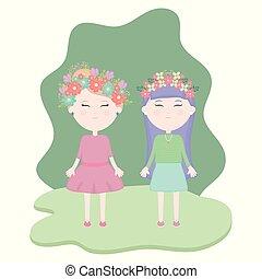 かわいい, 女の子, 恋人, 王冠, 毛, フィールド, 花
