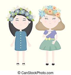 かわいい, 女の子, 恋人, 王冠, 毛, 特徴, 花