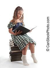かわいい, 女の子, 本を読む