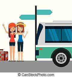 かわいい, 女の子, 止まれ, 2, バス, スーツケース, 観光客