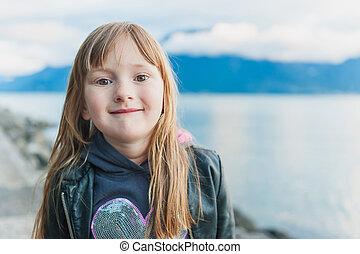 かわいい, 女の子, 肖像画