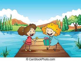 かわいい, 女の子, 2, 贈り物, 交換, 川