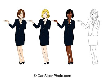 かわいい, 女性ビジネス, セット, 保有物, プレゼンテーション, microphone.