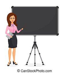 かわいい, 女性ビジネス, 指すこと, presentation., 特徴, 若い, とんぼ返り, chart., ベクトル, 女性, 作成, 空, illustration.