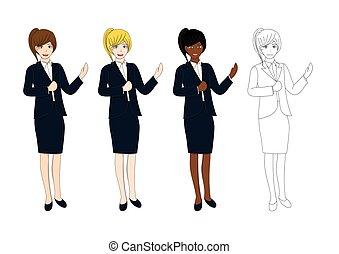 かわいい, 女性ビジネス, pointing., ハンドセット, プレゼンテーション