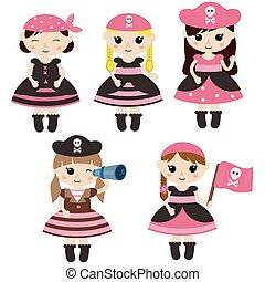 かわいい 女, セット, 海賊, 漫画