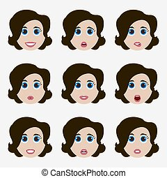 かわいい 女, セット, emoticons.