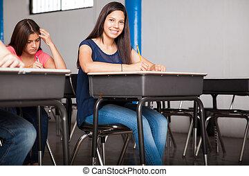 かわいい 女, テストを受ける, ∥において∥, 学校